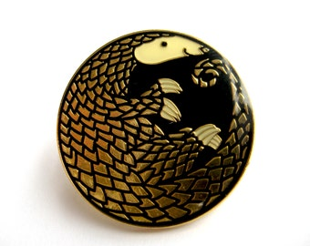 Golden Pangolin Enamel Pin