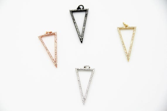 CZ Micro Pave 16x30mm  Hollow Triangle Pendant