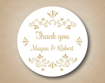 Wedding Favor stickers Gold Wedding Favors Gold Stickers Custom Wedding Favors Gold Thank You Sticker Tag Personalized Wedding Sticker