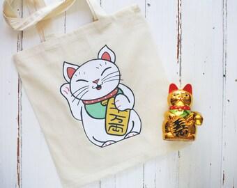 Lucky Cat Maneki-Neko Tote Bag