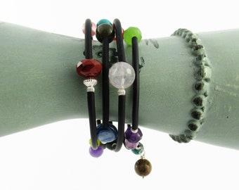 Medium memory wire bracelet, multi-stone bracelet, turquoise, coral, carnelian wrap around bracelet, jade bracelet, black rubber tubing