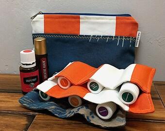 nautical bag, cosmetic bag, make-up bag, gadget bag, essential oils case, travel oils case, zippered pouch, essential oils bag