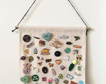 Pin Banner Display Hanging, Pennant, Enamel Pin, Pin Collection, Canvas Wall Hanging, Blank Canvas, Pin Storage, Wall Hanging, Banner, DIY