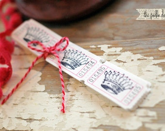 Vintage CROWN carnival tickets - Crown Ticket - Crown Tag - Vintage Crown - Princess Crown - Carnival Tickets - Hand Stamped Ticket - Bride