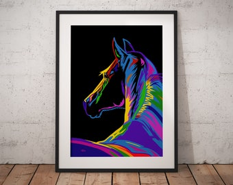 Gift for horse lover, horse gift, horse print, horse decor, horse art, wall picture, horse painting, horse lover, pop art horse, large print