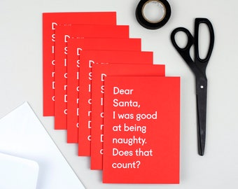Christmas card pack - Christmas card - Christmas cards - Funny Christmas card - Good at being naughty six pack