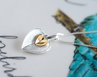 Double Heart Necklace, Mixed metals necklace, Heart Necklace with personalized box (11F2)