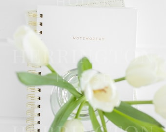 Business stock photography | White stock image - Tulips stock photo - Notebook stock photo - Flower stock photo - Minimalist stock image