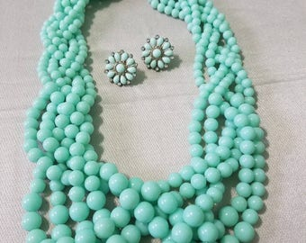 Sea Foam green, vintage six strand necklace and earring set. Lovely pastels blue green