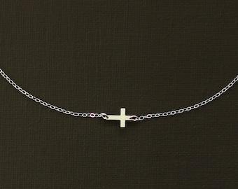 Sideways Silver Cross Necklace - Sterling Silver