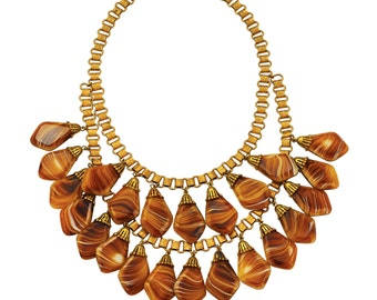 Early Miriam Haskell Bib Necklace with Art Glass