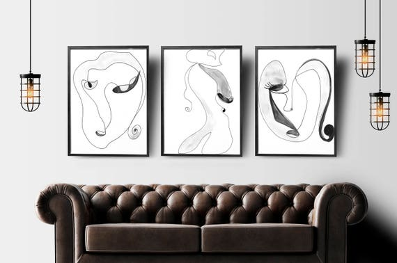 Single Line Art Print : Abstract face art set of wall one line