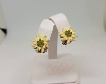 Vintage clip on earrings celluloid flower earrings something old 1940s 1950s small petite earrings gift for her birthday gift