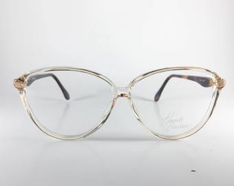 Haute Couture Vintage Frames 55-13 3504-6 Blue Plastic NOS Deadstock - HAUF89W-1