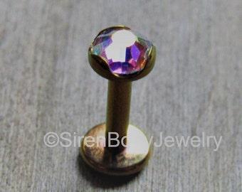 Rose gold labret 16g aurora borealis gemstone 4mm conch stud philtrum body jewelry earlobe flat backs lip piercings studs
