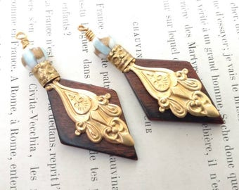 Wooden Pendant with Brass Drops Instant Earrings