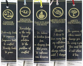 GOLD FOIL BOOKMARK: Divergent Factions and their manifestos *Laminated - Available in Black and White* (sold separately)