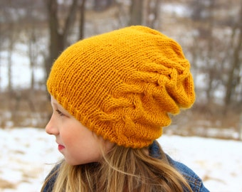 Braided Cable Knit Hat, Wool Hat, Kid's Hat, Child's Hat, Winter Hat, Knit Hat, Slouchy Beanie, Ruched Hat, Ski Hat, Mustard, Gold