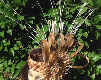 Simple Headpiece For Tahitian & Cook Islands Dancers. Authentic Tapa Cloth, Lauhala, Niau And Raffia. Perfect For Dancers Of All Ages!!