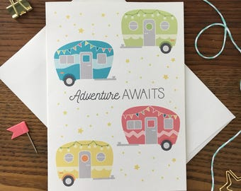 Camper Card. Adventure Card. Camping Card. Anniversary Card. Wedding Card. Birthday Card. Card for Friend. Blank Card. Outdoors Card