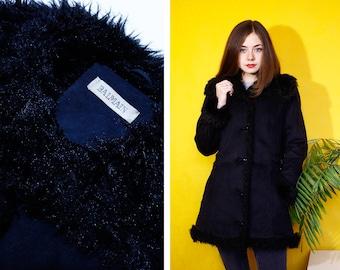 Vintage coat black Balmain, faux suede and faux fur Hoodie, size S, size 36 (FR)
