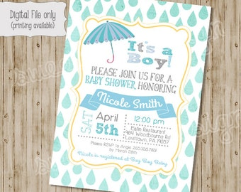 Baby Shower Raining Umbrella Invitations, Baby Shower Invitation, Baby Girl Shower Invitation, Baby Boy Shower Invitation, Raining Shower