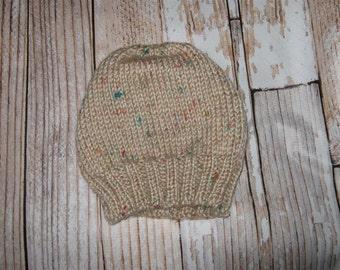 hand knit baby hat -beige tweed - size 6 - 12 months