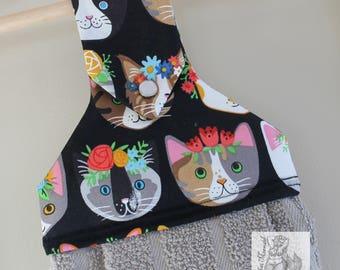 Flower Cats Hanging Kitchen Towel // Kitchen Towel // Dish Towel // Cat Towel
