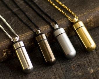 Secret Capsule Necklace Poison Pill Box - Metal Bottle Vial
