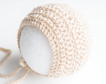 Blush Pink Crochet Baby Hat Newborn Bonnet Photography Prop