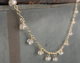 Pontevedra Dainty Dew Drop Rose Quartz Necklace on Gold Filled Chain - October Birthstone