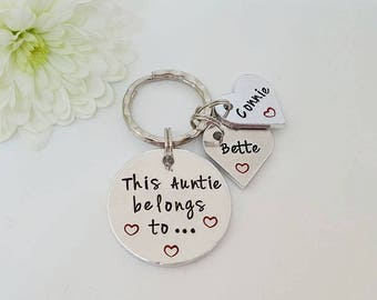Gift for Auntie, Hand Stamped Personalised Keyring Keychain, This Auntie Belongs To..., Auntie Keyring Keychain, Auntie Gift