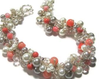 Pearl BRIDAL Necklace, POPPY, Coral, Guava, Persimmon, Salmon, White, Silver Grey, Limited Edition Color Pearl. Original Sereba Designs
