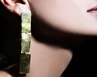 Gold statement earrings, long gold earrings, long geometric earrings, gold dangling earrings, rectangular earrings, handmade jewelry, Eg1516
