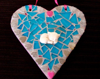 Mosaic Heart and Kitten Suncatcher Valentine Gift