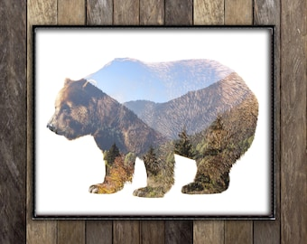 Grizzly Bear Print - Mountains Forest Animal Poster - Double Exposure Art - Rustic Woodland Nature Photography - Cabin Canadian Seller