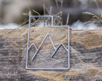 Metal Utah Outline, Utah with Mountains, Utah Sculpture, Welded Utah, Metal Wall Art, Utah Decoration, Handmade In Utah, Mountain Sculpture