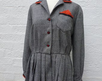 1960s altered vintage, upcycled peplum jacket, womens wool clothing recycled, vintage eco-friendly London ladieswear.