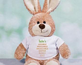 Carrot Love Personalized Easter Bunny, plush bunny, plush toy, Easter gift for kids, easter basket stuffer, brown, customized -gfy86101048L
