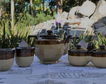 Vintage Brown Drip 3 Tone Stoneware Tea Set