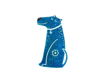 Blue Dog Brooch -Illustrated Brooch - Stainless Steel