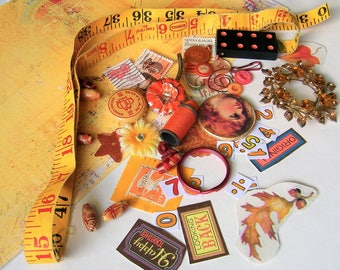 Autumn Mixed Media Kit, Mostly Vintage, for Art, Assemblage, Art Journals, Collage. Jewelry, Stamps, Domino, Measuring Tape