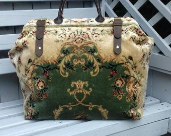 Handmade Green/Gold Plush Weekend/Overnight Persian style Carpet Bag/Mary Poppins/Doctor Bag