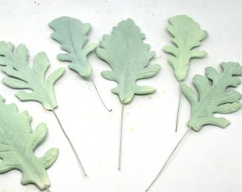 Dusty Miller Leaves Spray for Sugar Flower Arrangements, gumpaste greenery and foliage, green wedding cake toppers, fondant cake decorations