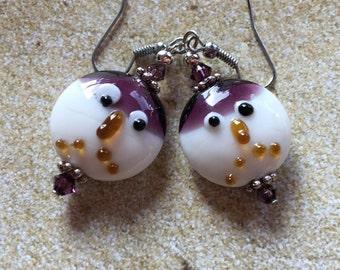 Lampwork Beaded Earrings, Lampwork Earrings, PurpleEarrings, Gift For Her, Dangle Earrings, Glass Earrings