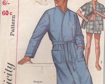 ON SALE 1960's Sewing Pattern - Simplicity 5387 Mens Jacket, Swim Shorts and Robe Size 38-40 MED Uncut, Factory Folded