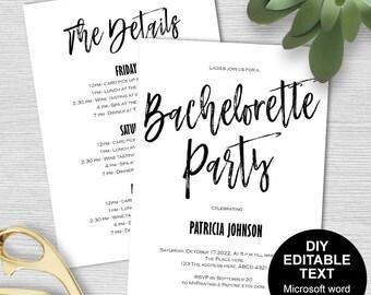 Bachelorette party invites, Bachelorette invitation, Bachelorette party invitation template, Bachelorette itinerary, DIY, printable,modern