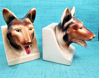 1950s German Shepherd Bookends made in Japan, Ceramic Dog Bookends, Mid Century Bookends,