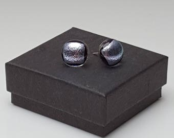 Sparkling silver dichroic stud earrings