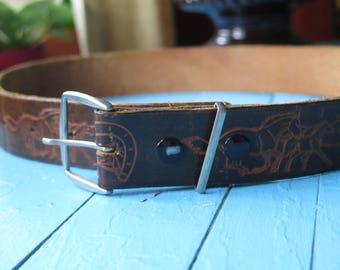 Vintage belt leather with horse / Vintage leather belt